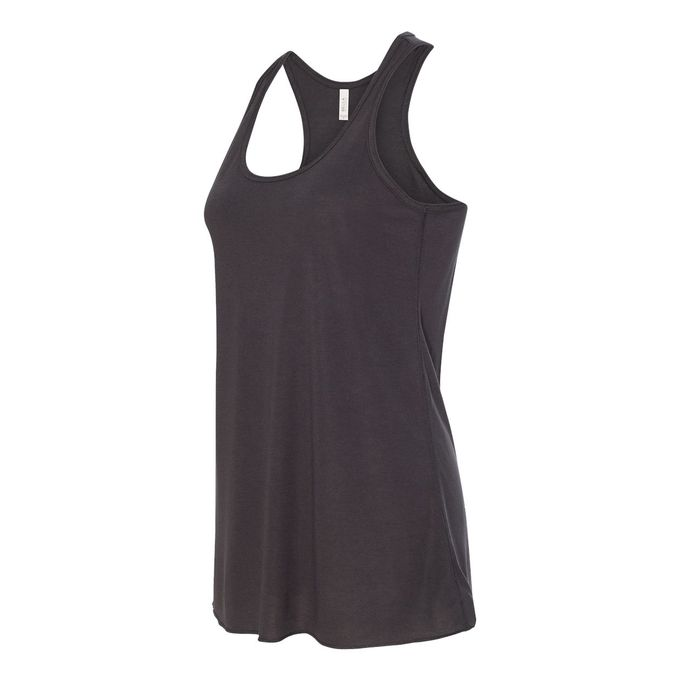 Bella Ladies Flowy Racerback Tank [Dark Grey Heather, Medium]