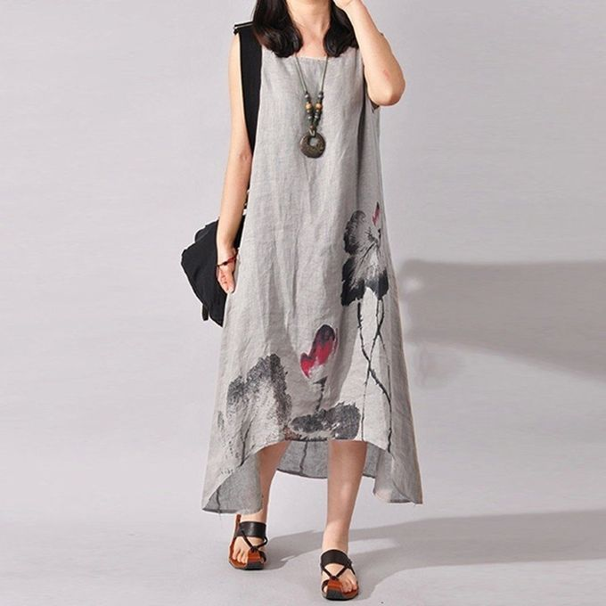 df6b3b7cc8 ZANZEA Plus Size S-5XL Women Sleeveless Loose Cotton Linen Summer Sundress  A-line