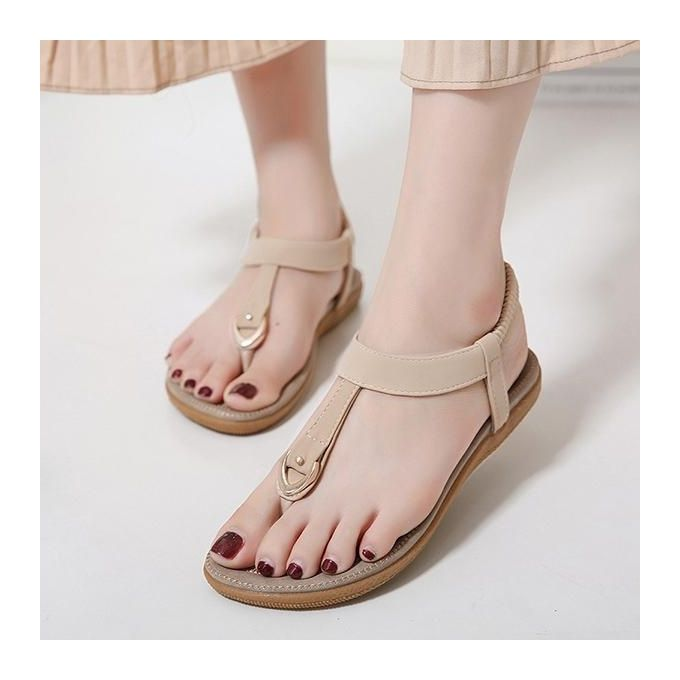 fe25cd1af335 Sale on SOCOFY Fashion Women Comfortable Elastic Clip Toe Flat Beach ...