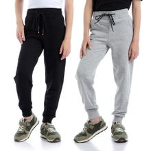2b6323ab6 Bundle Of 2 Comfy Elastic Waist Sweatpants - Heather Light Grey & ...