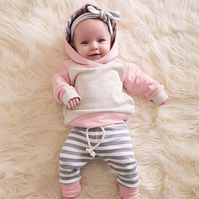 67bd68d4d ... Fashion3pcs Toddler Baby Boy Girl Clothes Set Hoodie  Tops+Pants+Headband Outfits ...
