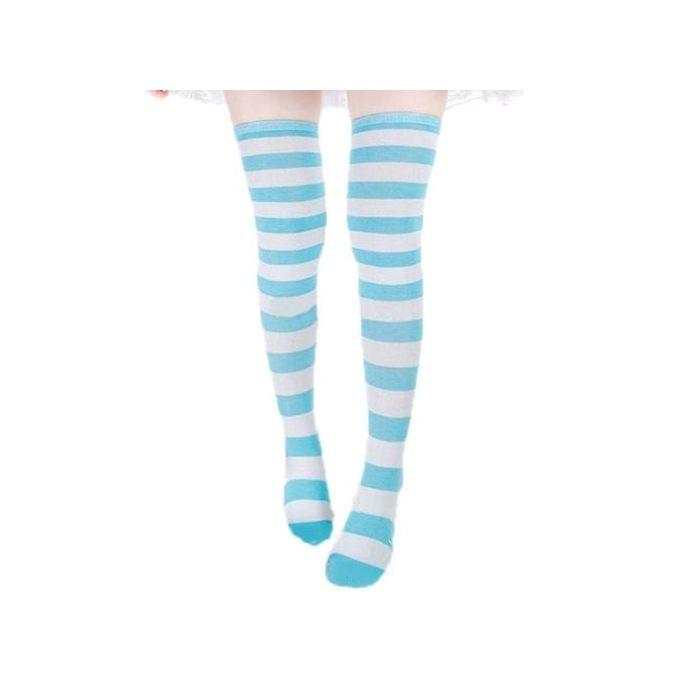 a8425952327 ... ZANZEA Sexy Women Thigh High Striped Over The Knee Socks Cotton  Stockings