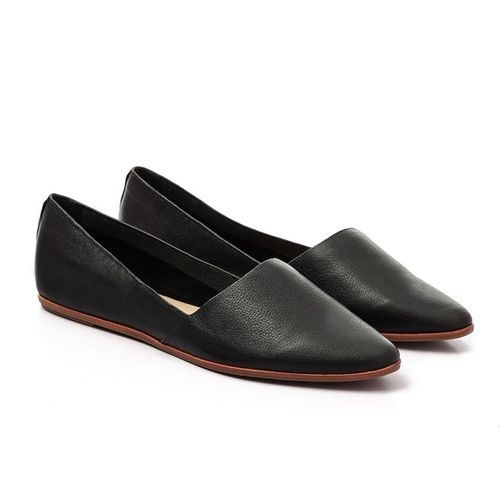 Pointed Low-key Leather Flat Black Loafers