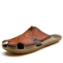 140e3d7bc Men Sandals Summer Leather Slippers Holiday Outdoors Beach Water Sandals  Plus Big Size 39-46