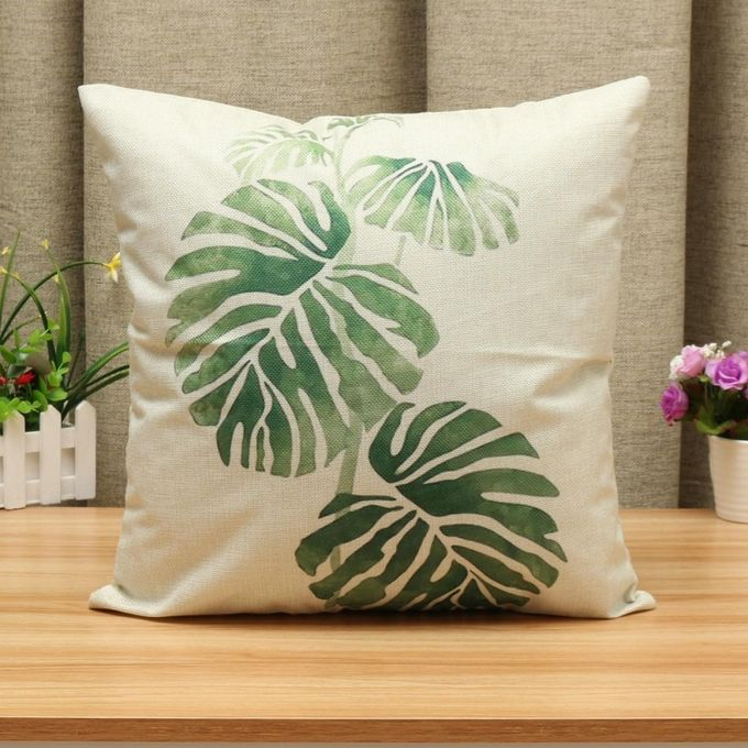2PCS Green Leaf Plant Cotton Linen Cushion Cover Throw Pillow Case Sofa Home Decor #3 –  مصر