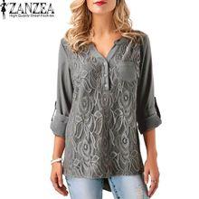 6f1de9962fb35 ZANZEA Lace Patchwork Shirt Women V Neck Long Sleeve Buttons Blouse Chiffon  Tops