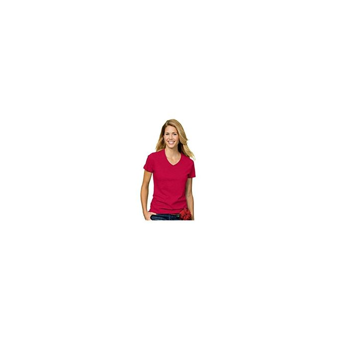 Hanes Women`s Relaxed Fit ComfortSoft® V-neck T-Shirt, L-Deep Red
