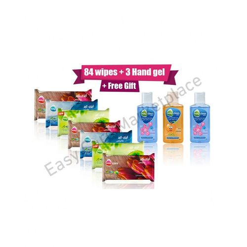 Easy Care Easy fresh Wipes 7*12 = 84 Wipes + 3 Hand sanitizer