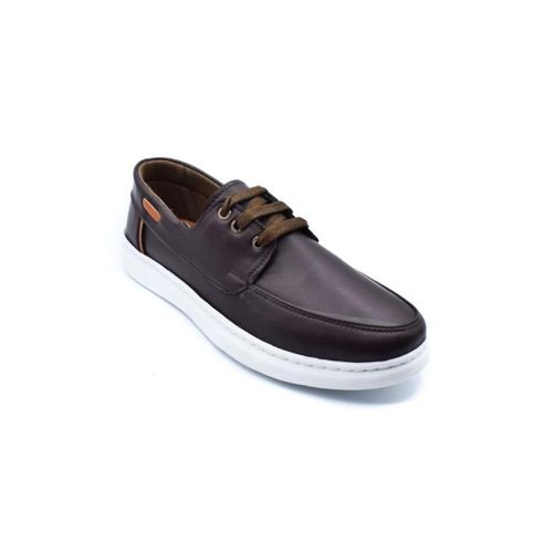 Lace Up Leather Men Loafers - Brown