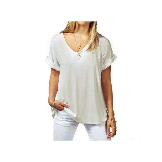 c968731eb58014 New Arrival Women Casual Basic Cotton T-Shirt Summer Ladies Fashion Short  Sleeve V-