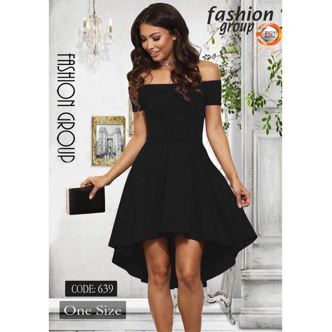 8af5230f8159 Sale on High Low Hem Off Shoulder Dress - Black