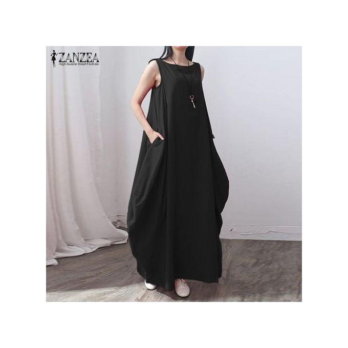 0817d55e1d9 Casual Kaftan Linen Summer Dress Women Elegant Loose Sleeveless O Neck Dress  Cotton Long Maxi Dress