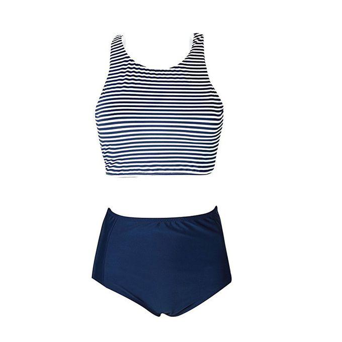 3381ba5e236 ... Hiamok Womens High Waist 2 Piece Stripe Bikini Spa Swimsuit Bathing  Suit S ...
