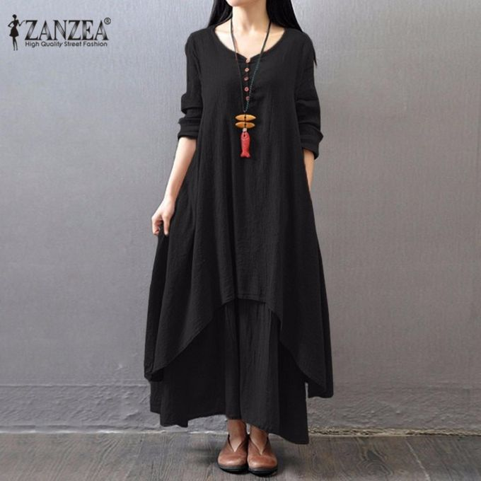e444a977c08 ZANZEA Boho Long Maxi Dress Women Casual Solid Cotton Linen Vestidos Plus  Size Elegant Loose Full