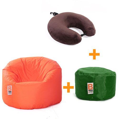 Bubbly بين باج - برتقالي + Jet Comfy وسادة - بني + باف - أخضر