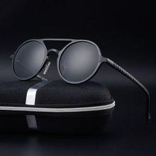 c6bc3051a New Men's Polarized Sunglasses Retro Round Frame Fashion Sunglasses- black