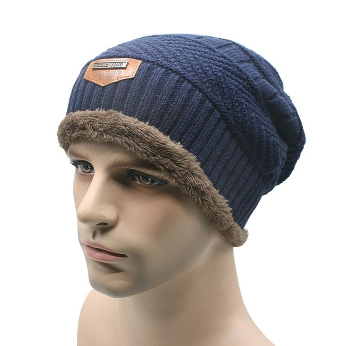 Tectores Fashion Trend Men Winter Warm Baggy Knitted Solid Hats Plain Caps  Oversize Ski Hat NY 1ac1f670b17
