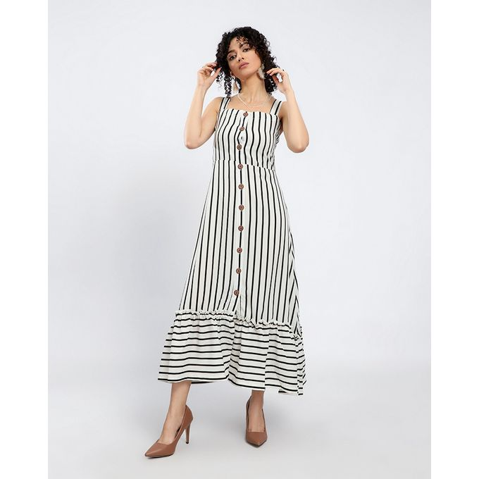 48cdd6ced26b Sale on Sleeveless Striped Chiffon Buttoned Maxi Dress - White ...