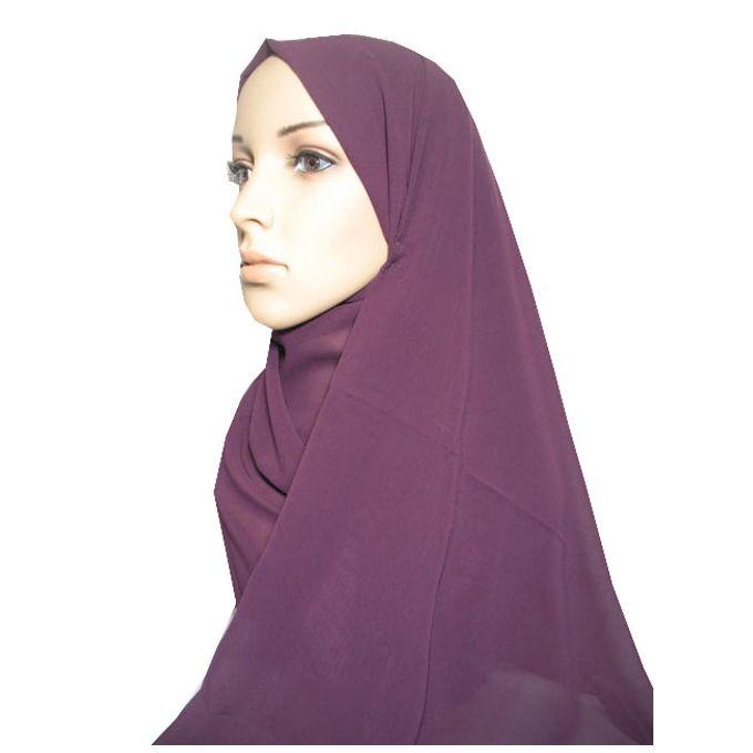 حجاب من الشيفون - 70 × 175 سم - بنفسجي