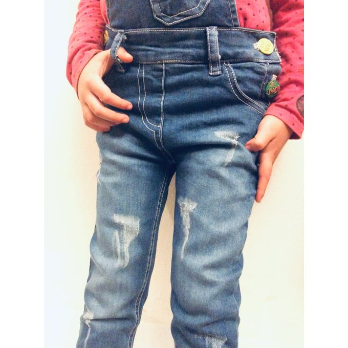b36b35358b ... Kids Cotton Jeans For 3-6 Years Old Girls Sleeveless Slim Stretch Overalls  Backless Rompers ...