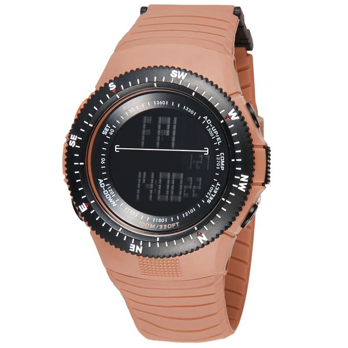 Cool Digital Water Resistant Sports Wristwatch For Men Women Second  Timezone Time Display Camel