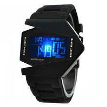 9a71f9588b719 Hiamok Airplane Aivator Pilot LED Flashlight Alarm Men Sport Cuff Watch  Black