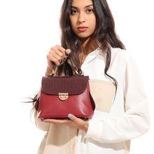 f5712809e Textured Leather Croosbody Bag - Burgundy