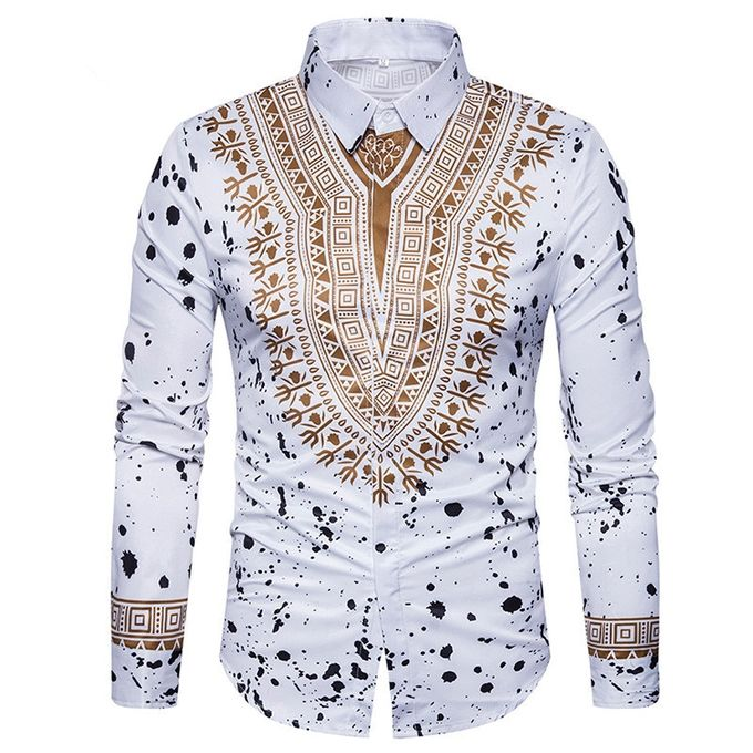 2d9afedda Men's Casual Print Shirts Dashiki 3D Printing Ethnic Geometric Splatter  Paint Long Sleeve Shirt