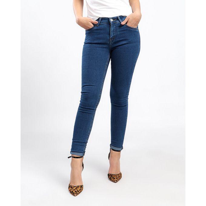 1d3b6e54c بنطلون جينز هاي ويست ساده - ازرق داكن - Jumia مصر