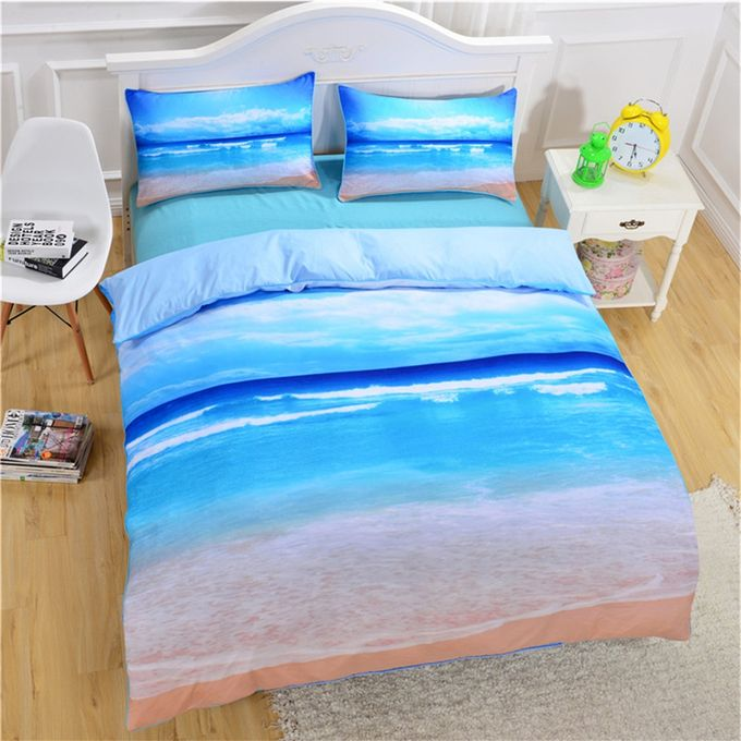 Unique Beach Ocean Pattern Printing Bedding Sets Duvet Cover Pillow Cases Bed Set Style:Beach Ocean Dimensions:Twin: 173 * 218cm –  مصر