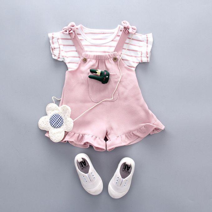 64d00c556 الاطفال اطفال بنات الصيف مخطط قصيرة الأكمام قميص + الحمالات السراويل مجموعة