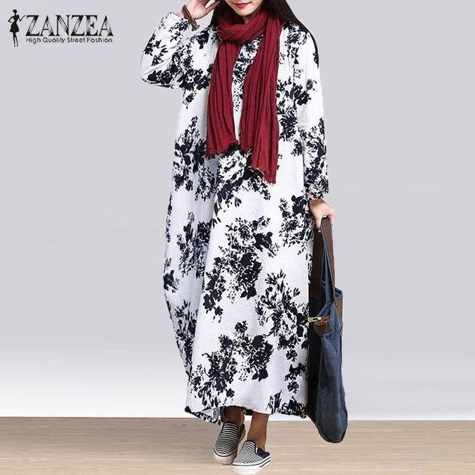 de401c003c ZANZEA Oversized Womens Cotton Linen Floral Long Sleeves Casual Long Maxi  Dress Kaftan - Black
