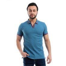 77eb781e6 Pique Open V-Neck Short Sleeves Polo Shirt - Light Steel Blue