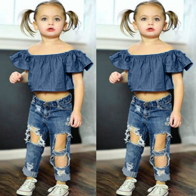 8a8d1269f Tectores Toddler Baby Girls Off Shoulder Solid Tops+Hole Denim Jean Pants  Outfits Sets Hot
