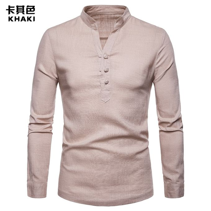 7ac6b4402 High Quality Solid Color Men Shirt Linen Henry Collar Large Size Solid  Color Long Sleeve Shirt