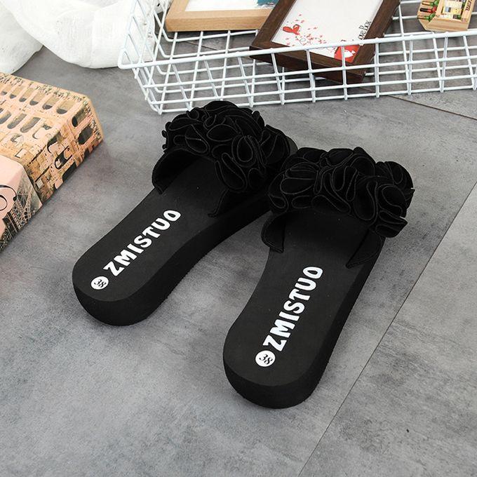 efdbcbb2089b ... Women Flower Summer Sandals Slipper Indoor Outdoor Flip-flops Beach  Shoes Black ...