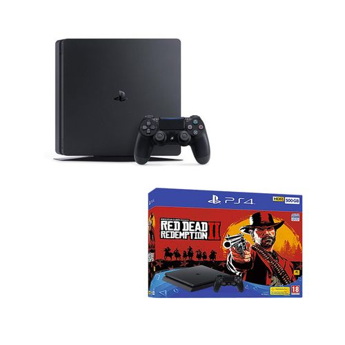 PlayStation 4 Slim - 500GB Gaming Console - Black + Red Dead Redemption 2