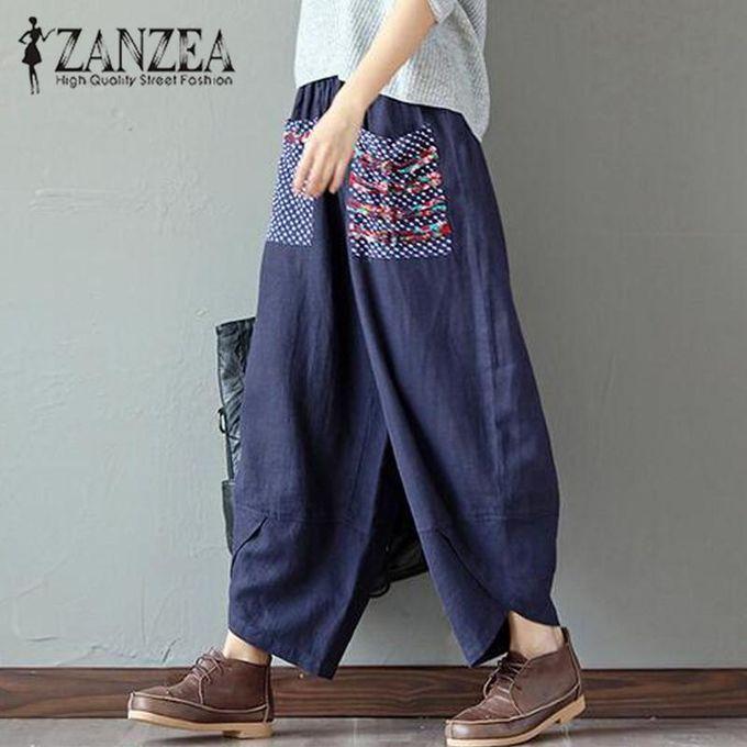 9afe093b07f68 Hot ZANZEA Autumn Women Polka Dot Retro Print Pockets Loose Elastic Waist  Cotton Linen Harem Pants Leisure Long Trousers Plus Size Pantalon Navy
