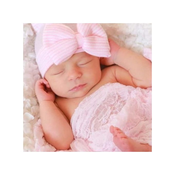 88d111e56 Newborn Cute Lovely Soft Cute Hat Bow Baby Girl Hospital Beanie Hat C
