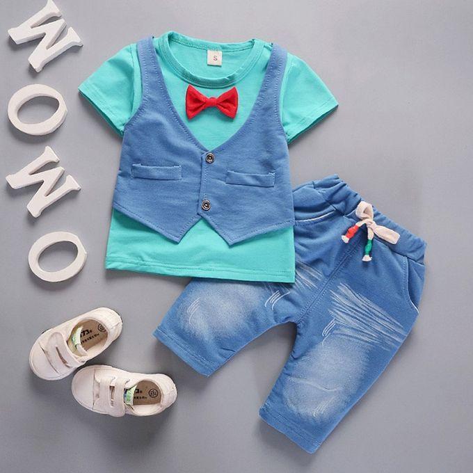 9f46f14f7050e طفل أطفال طفل بنين ملابس قصيرة الأكمام تي شيرت + سروال مجموعة الملابس شهم  ...