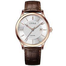 Bontek Electronic CITOLE Quartz Couple Watches A Calendar Leather Strap Sapphire Glass Mirror Thin Watch Dial&