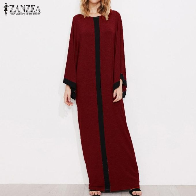 f873e45a3ac ZANZEA Women Striped Crew Neck Casual Loose Kaftan Vestido Vintage Ladies  Flared Sleeve Party Long Maxi
