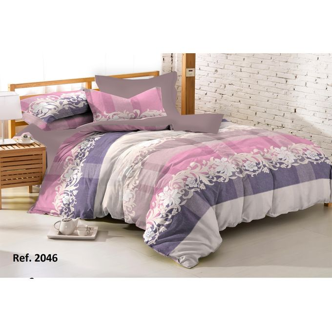 Printed Fiber Quilt + 2 Pillow Cases – Multicolored –  مصر