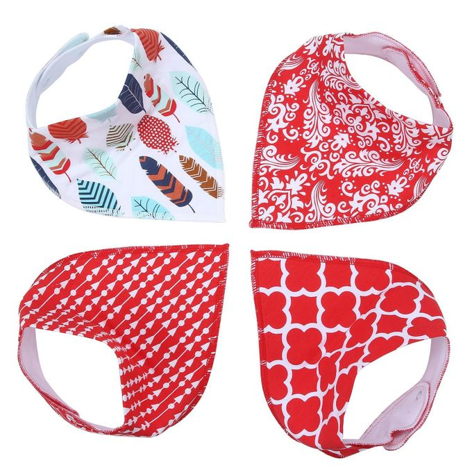 Unisex Cute Waterproof 100% Cotton Soft Baby Bandana Drool Saliva Towel Bibs with Snaps , 1 Set/4 Pieces  –  مصر