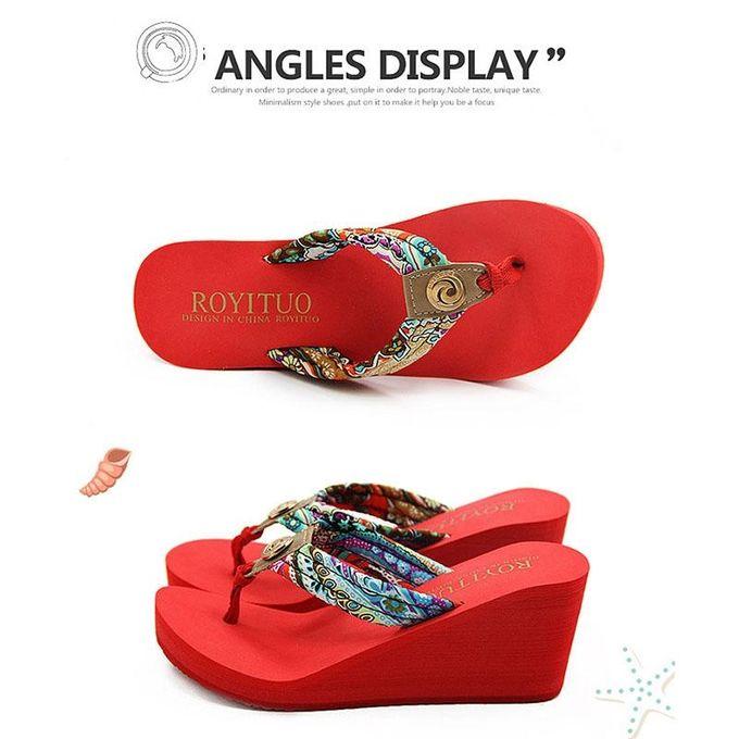 7f43ffb952d2 New Fashion Bohemian Summer Styles Buckled High Heel Wedges Flip-flops  Non-slip Beach