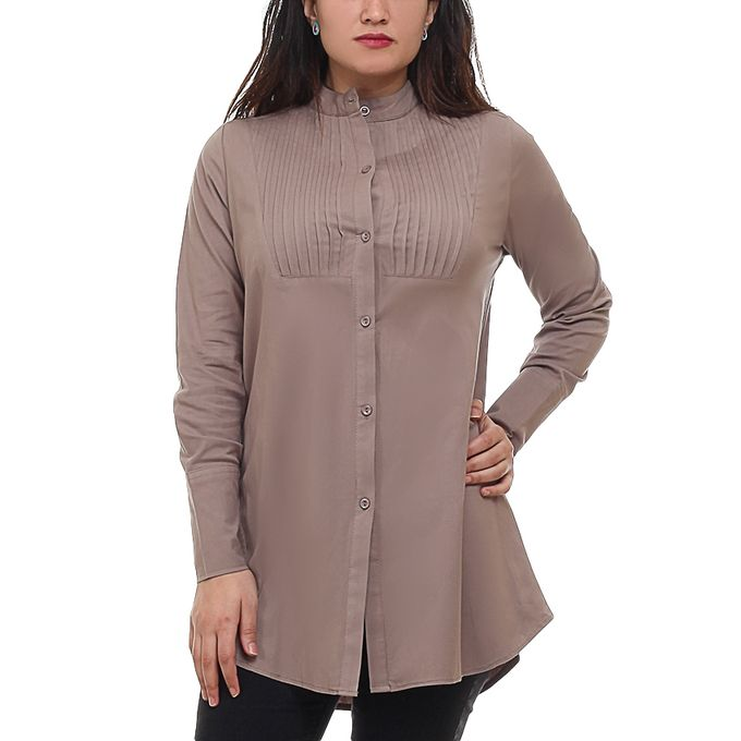 d08dfb32ec286 قميص قطن كاجوال زراير- مقاس كبير - كافيه - Jumia مصر