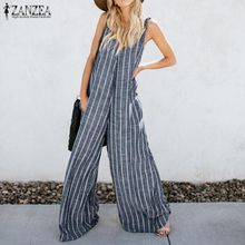 41c81c62cf6 ZANZEA Women Summer Harem Pants Bib Cargo Pants Casual Striped Dungaree  Overalls