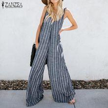 108896225cff4 ZANZEA Women Summer Harem Pants Bib Cargo Pants Casual Striped Dungaree  Overalls