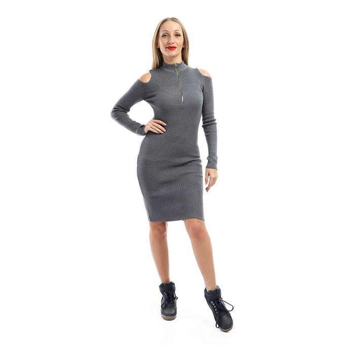 ba015544d01 Sale on Cold Shoulders Slip On Dress - Dark Gray