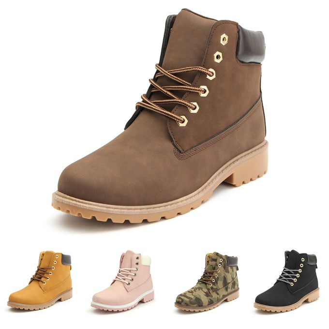 3e4ec2bad278 Women s Leather Ankle Martin Boots High Top Waterproof Safety Work Shoes  Flat
